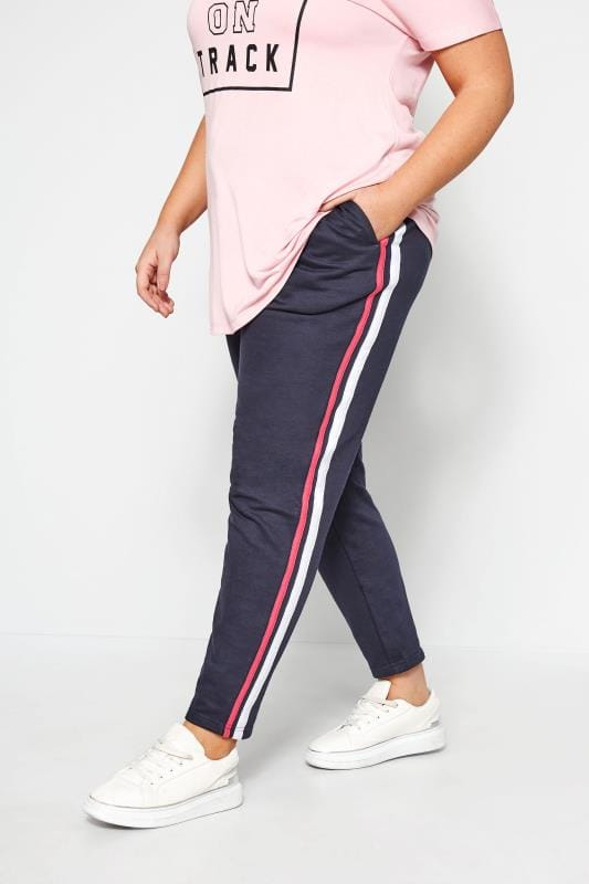 Plus Size Joggers Navy Side Stripe Joggers