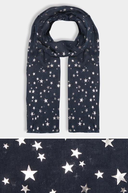 Écharpes Grande Taille Écharpe Bleu Marine & Étoiles Métalliques