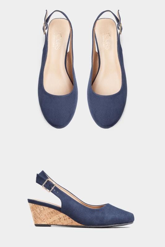 Wide Fit Wedges Navy Slingback Wedges In Extra Wide Fit
