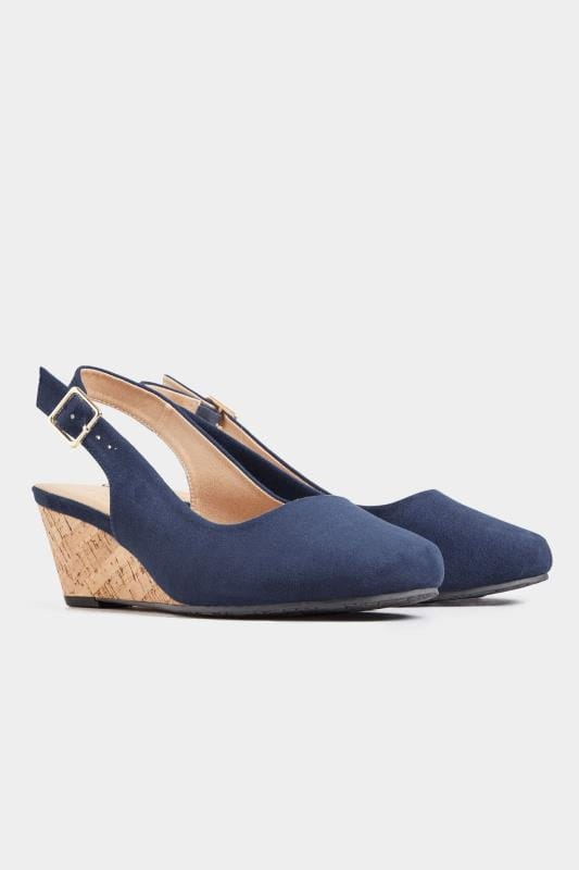 Navy Slingback Wedges In Extra Wide Fit