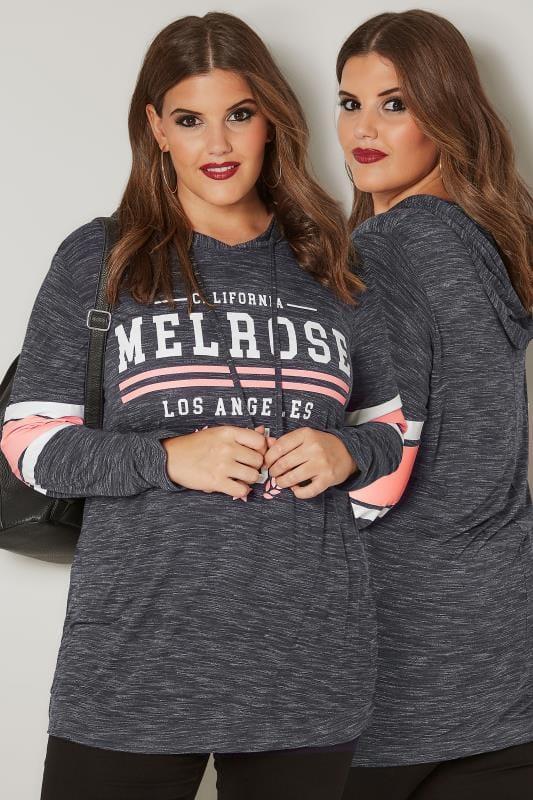 Navy Slogan 'Melrose' Varsity Hoodie