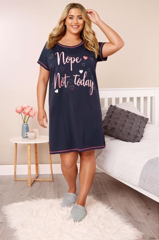 Navy Slogan Nightdress