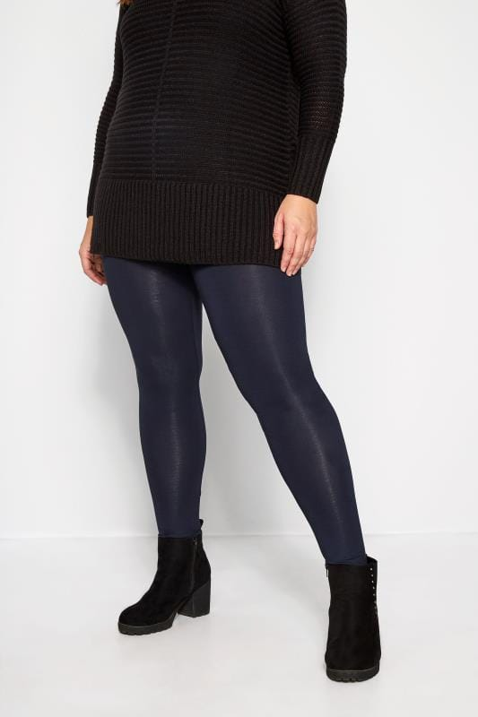 Plus Size Basic Leggings Navy Soft Touch Leggings