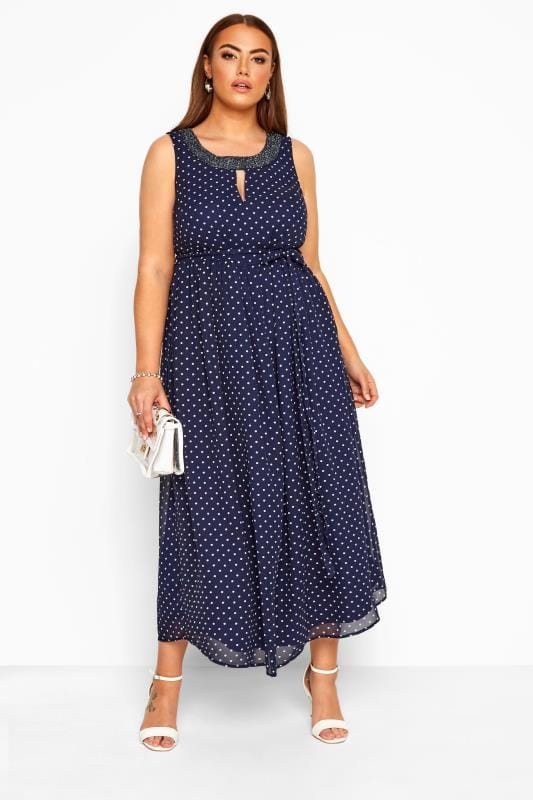 Plus Size Maxi Dresses YOURS LONDON Navy Polka Dot Embellished Maxi Dress