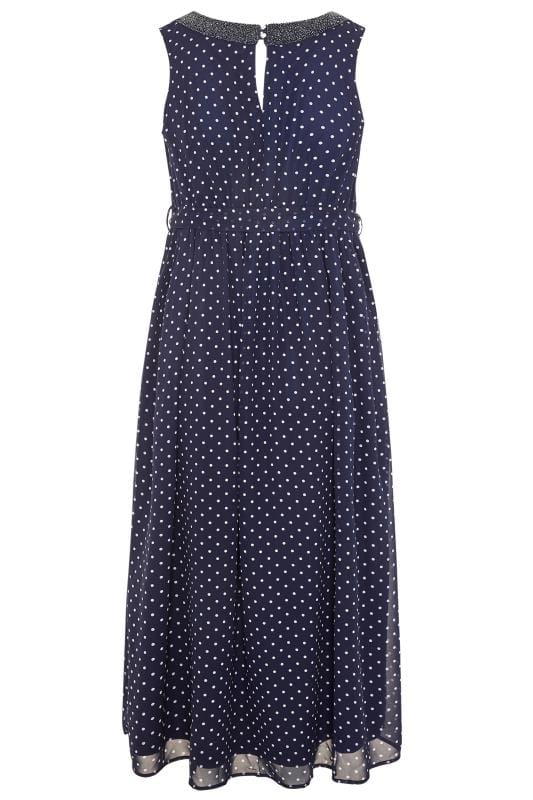 YOURS LONDON Navy Polka Dot Embellished Maxi Dress