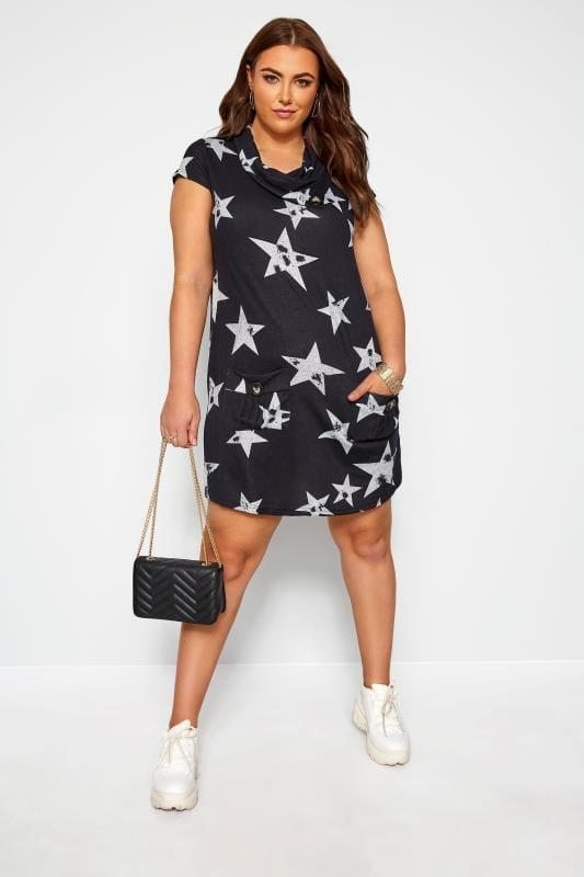 Navy Star Cowl Neck Tunic Dress