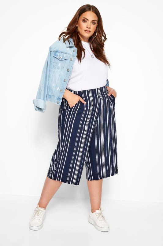 Plus Size Culottes Navy Stripe Linen Mix Culottes