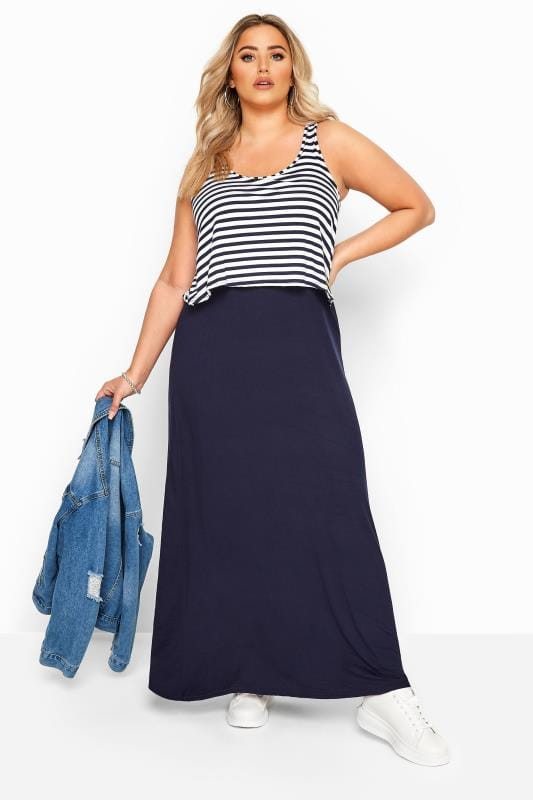 Plus Size Maxi Dresses Navy Stripe Overlay Maxi Dress
