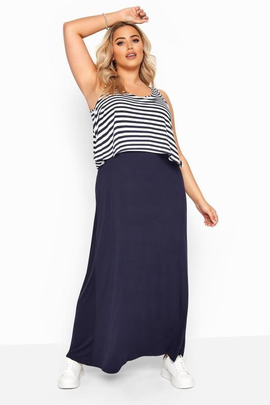 Navy Stripe Overlay Maxi Dress