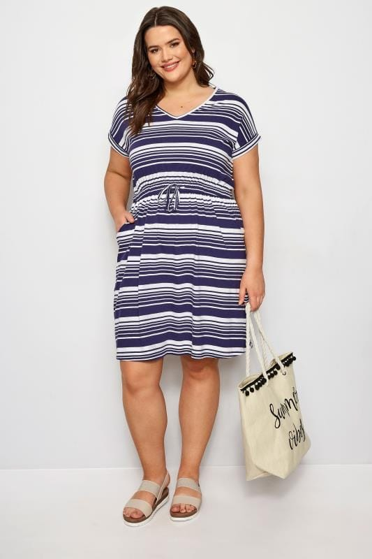 Navy Stripe T-Shirt Dress
