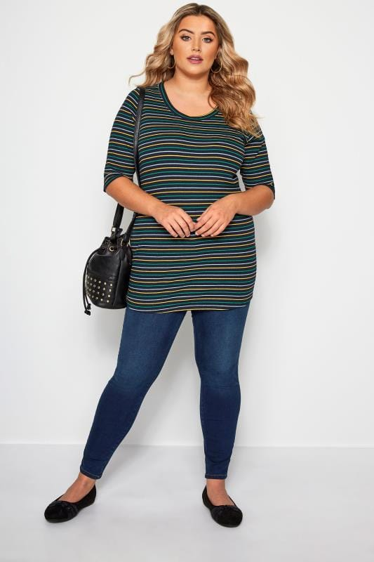Navy Striped Ribbed Jersey Top