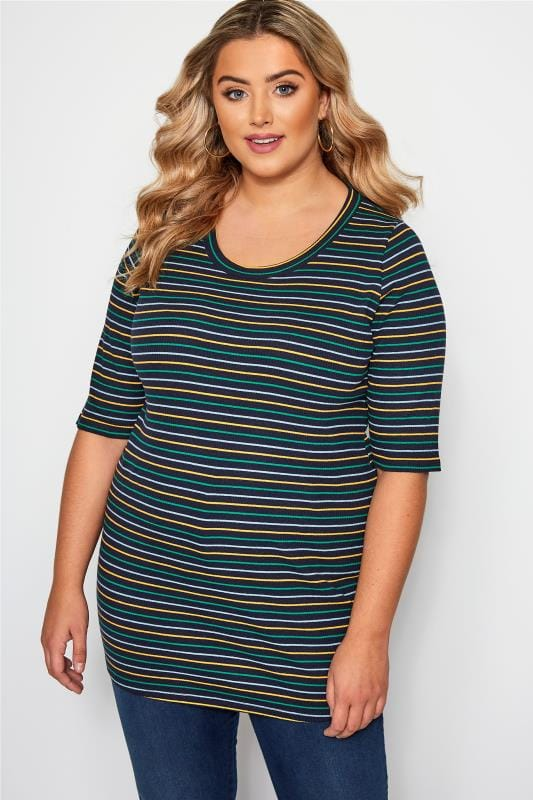 Plus Size Jersey Tops Navy Striped Ribbed Jersey Top
