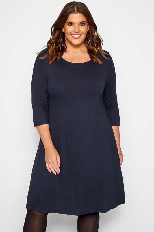 Plus Size Jersey Dresses Navy Swing Dress
