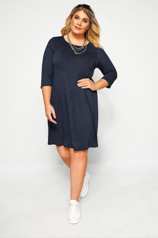 Plus Size Jersey Dresses Navy Swing Dress