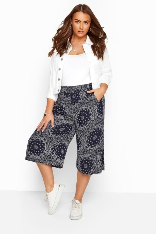 Culottes Grande Taille Navy Tile Print Crinkle Culottes