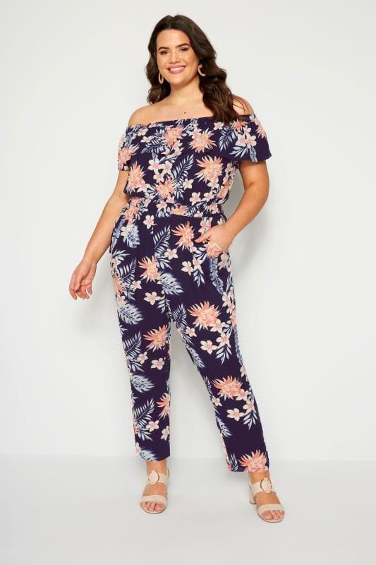Plus Size Jumpsuits Navy Tropical Bardot Jumpsuit