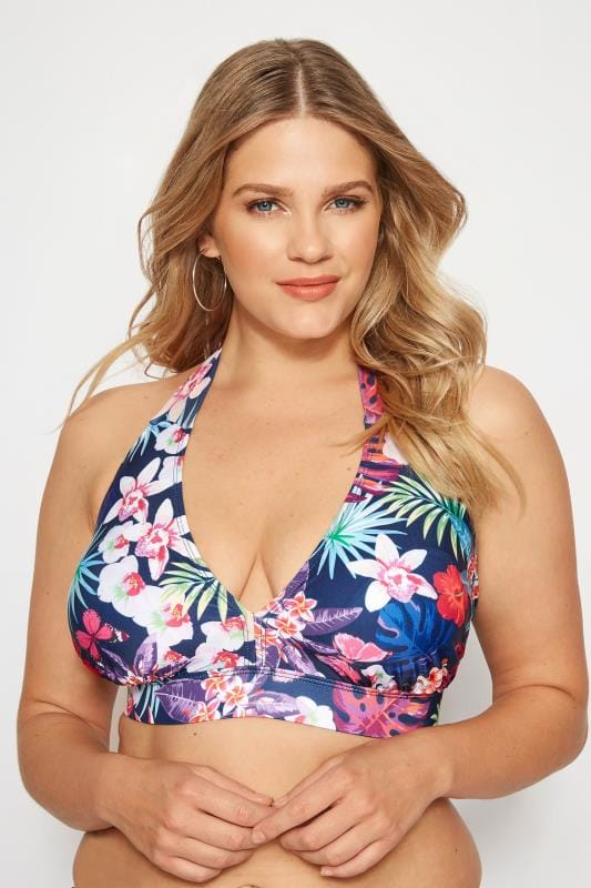Navy Tropical Bikini Top