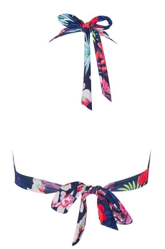 Navy Tropical Bikini Top