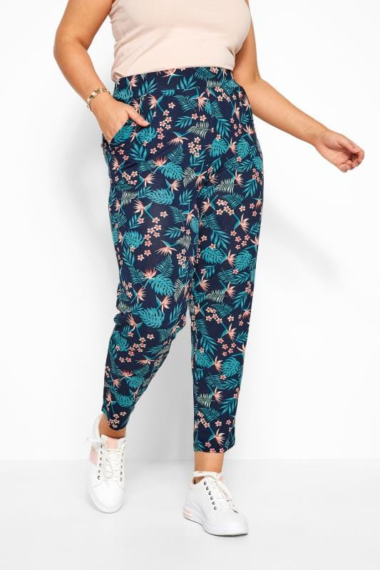Navy Tropical Double Pleat Harem Trousers