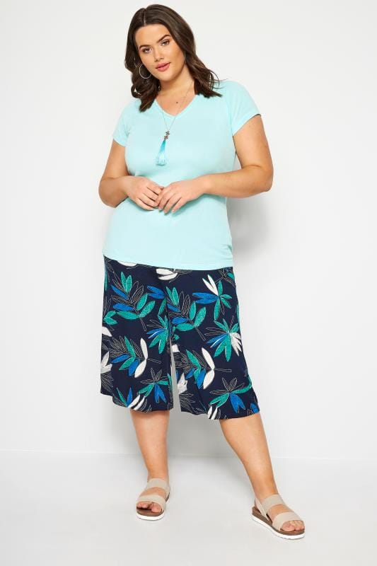Navy Tropical Floral Jersey Culottes