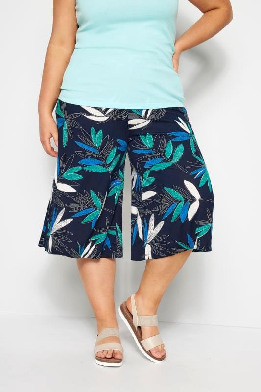 Plus Size Culottes Navy Tropical Floral Jersey Culottes