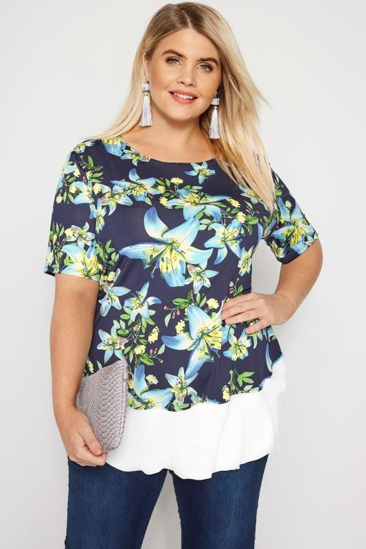 Plus Size Floral Tops Navy Tropical Floral Jersey Top