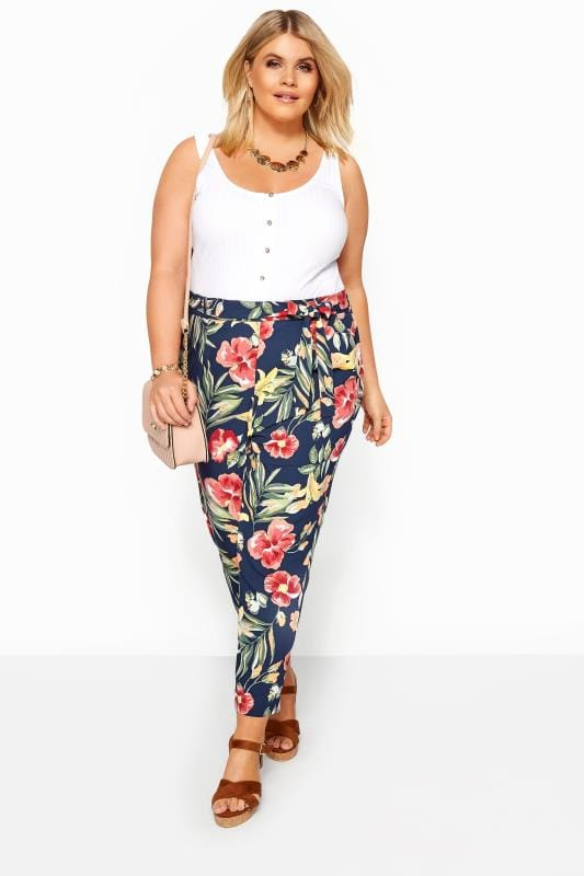 Plus Size Tapered & Slim Fit Trousers Navy Tropical Floral Tapered Trousers