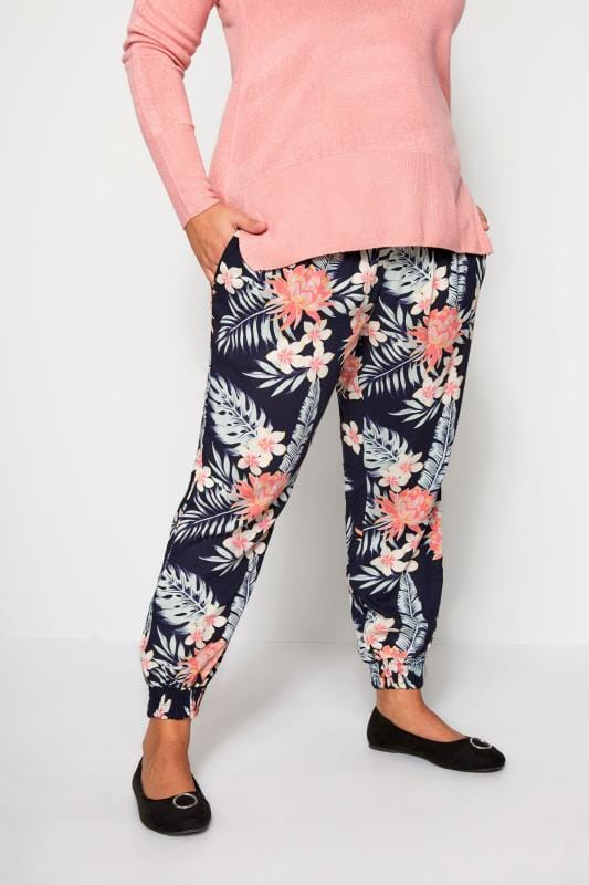 Plus Size Harem Trousers Navy Tropical Harem Trousers