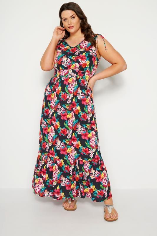 Plus Size Maxi Dresses Navy Tropical Maxi Dress