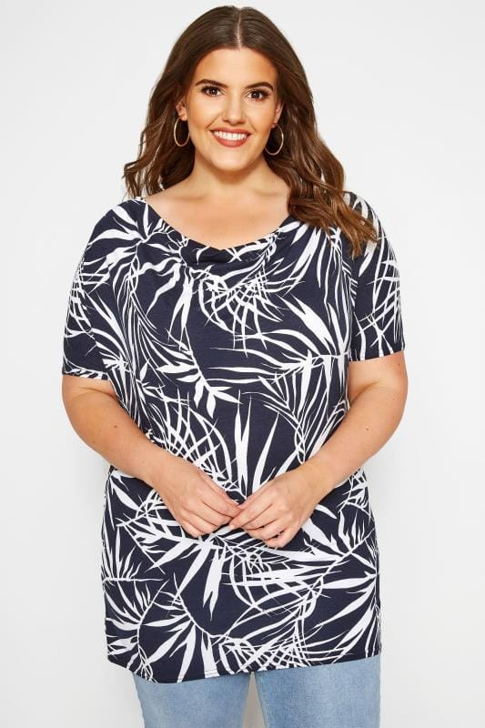 Jersey Tops Grande Taille Navy Tropical Print Cowl Neck Top