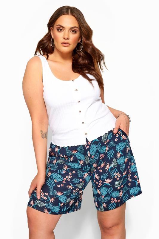 Navy Tropical Print Jersey Shorts