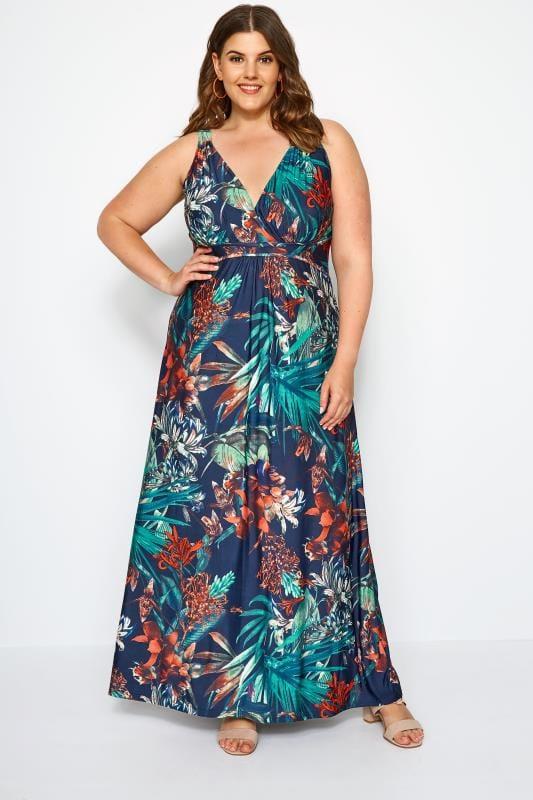 Plus Size Maxi Dresses Navy Tropical Print Maxi Dress