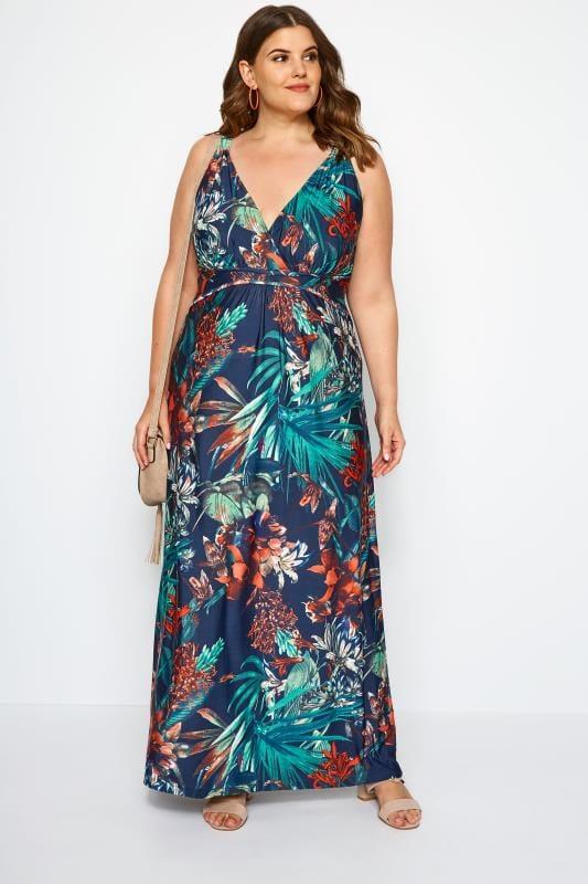Navy Tropical Print Maxi Dress