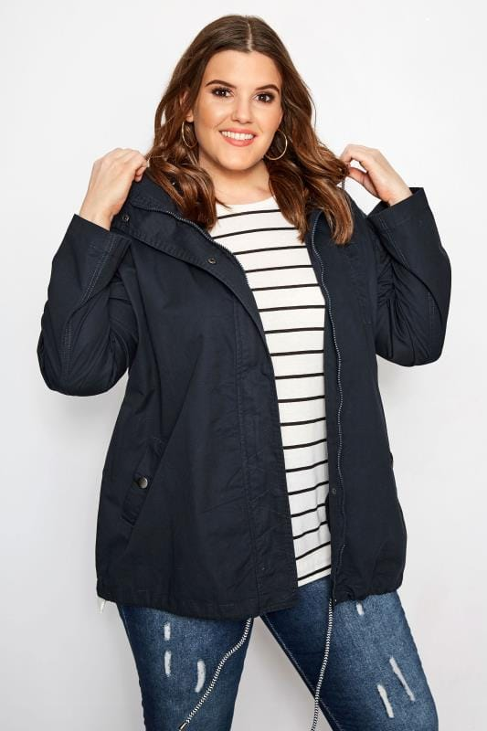 Plus Size Coats Navy Twill Parka Coat