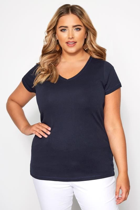Plus Size Basic T-Shirts & Vests Navy V-Neck T-Shirt