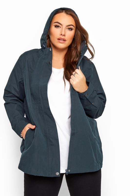 Plus Size Raincoats & Jackets Navy Waterproof Jacket