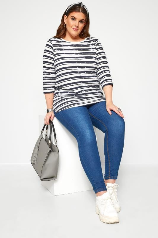 Navy & White Stripe Glitter Top