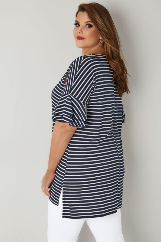 Navy & White Striped Floral Embroidered T-Shirt