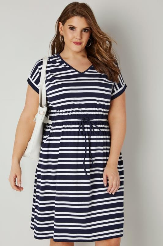 Navy & White Striped T-Shirt Dress With Pockets ...
