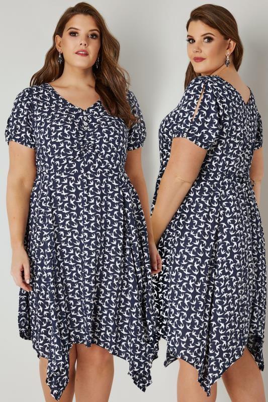 Navy & White Swallow Print Dress With Tie Waist & Hanky Hem