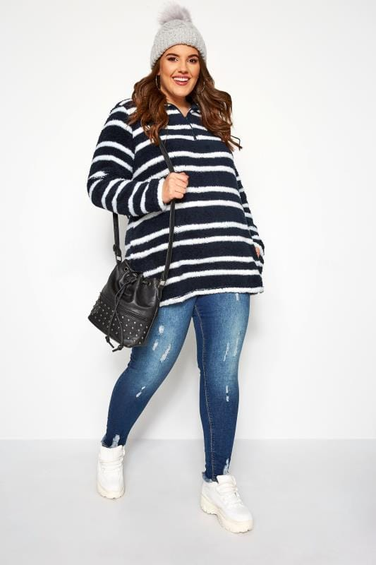Plus Size Fleeces Navy & White Zip Neck Fleece