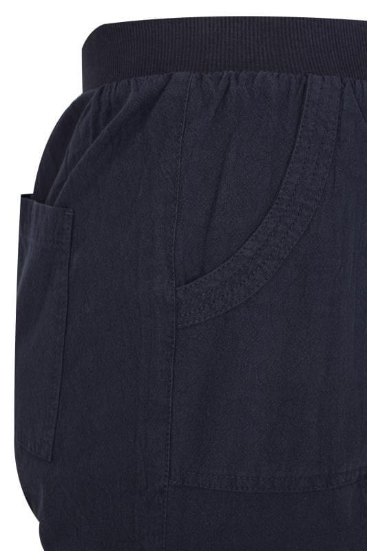 Navy Wide Leg Cotton Trousers