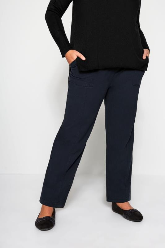 Plus Size Cool Cotton Trousers Navy Wide Leg Cotton Trousers