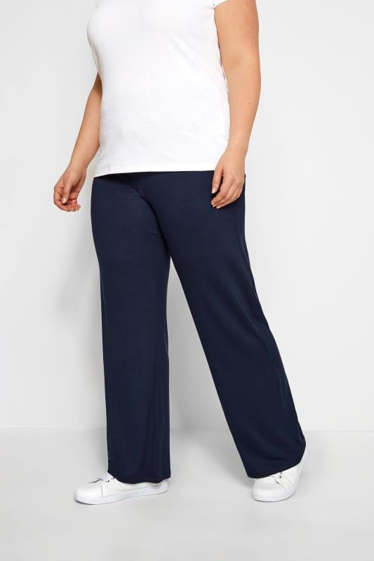 Plus Size Joggers Navy Wide Leg Pull On Stretch Jersey Yoga Trousers