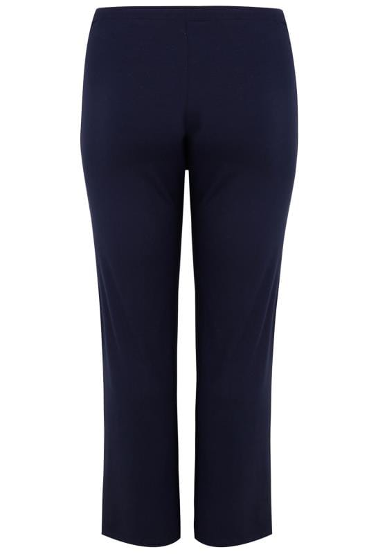 Navy Wide Leg Pull On Stretch Jersey Yoga Trousers