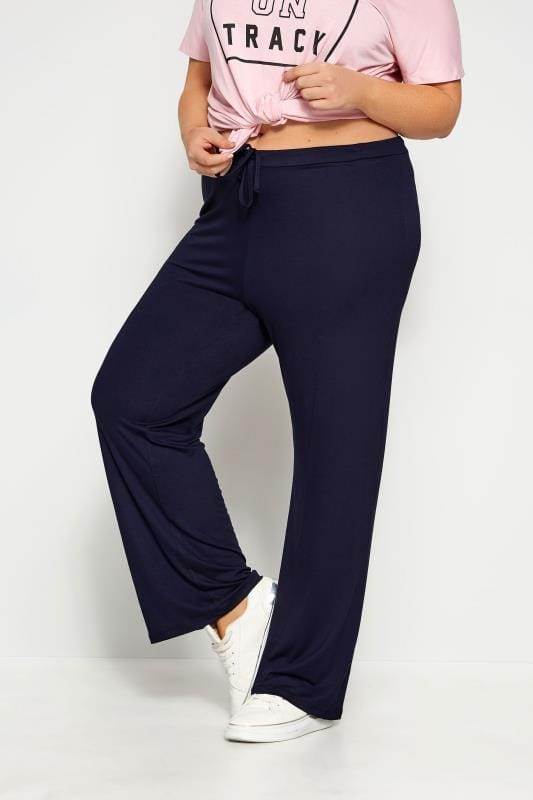 Joggers Tallas Grandes Navy Wide Leg Pull On Stretch Jersey Yoga Trousers