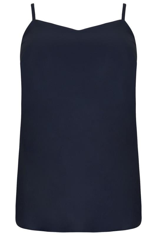 Navy Woven Cami Top With Side Splits
