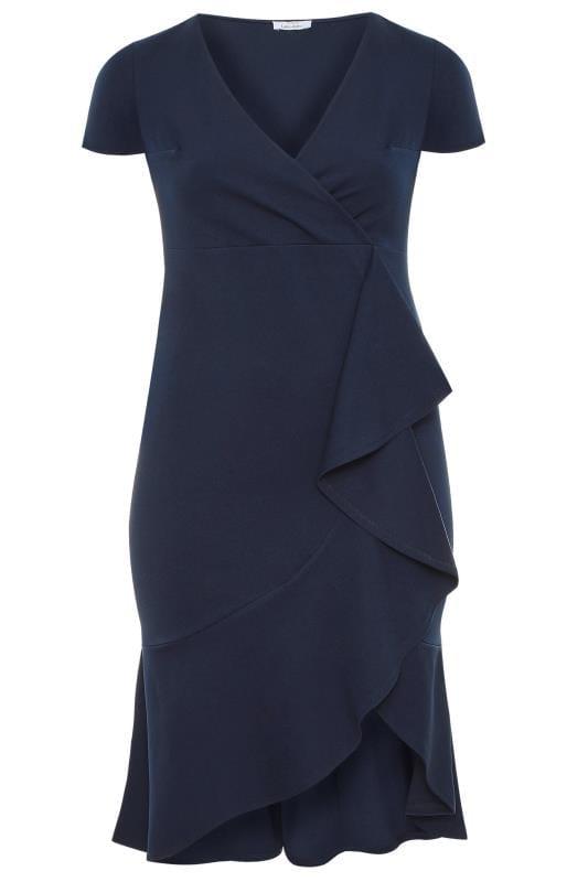 YOURS LONDON Navy Wrap Ruffle Dress