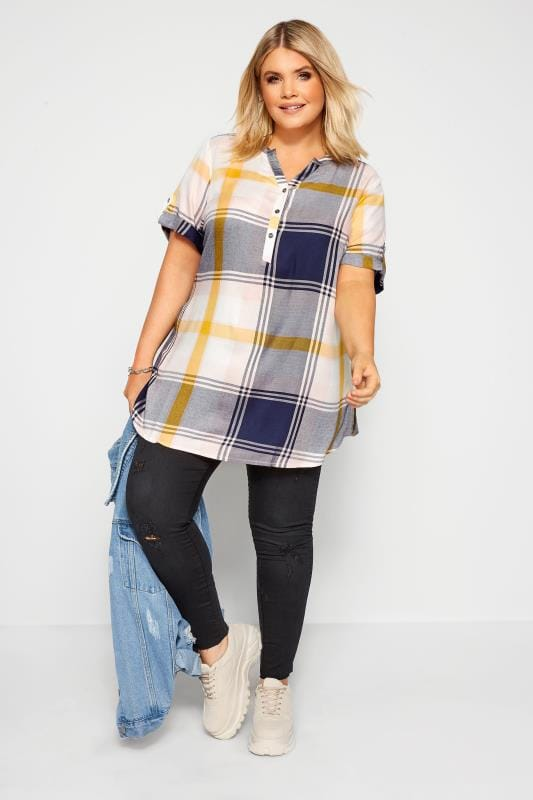 Plus Size Shirts Navy & Yellow Check Shirt