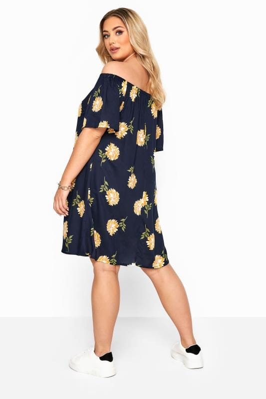 Navy & Yellow Floral Bardot Tunic